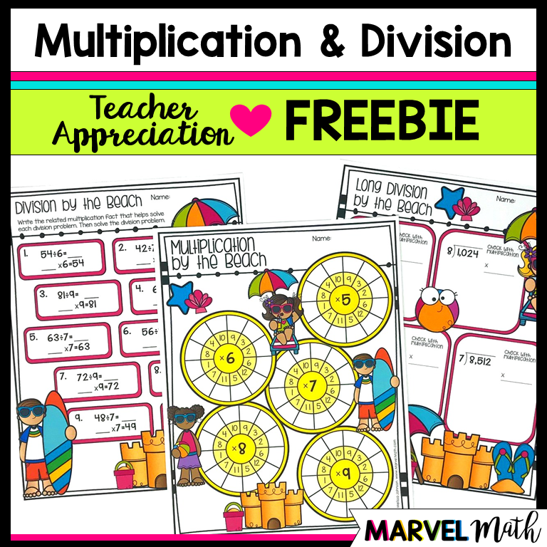 Multiplication and Division at the Beach FREEBIE - Marvel Math - Fun ...