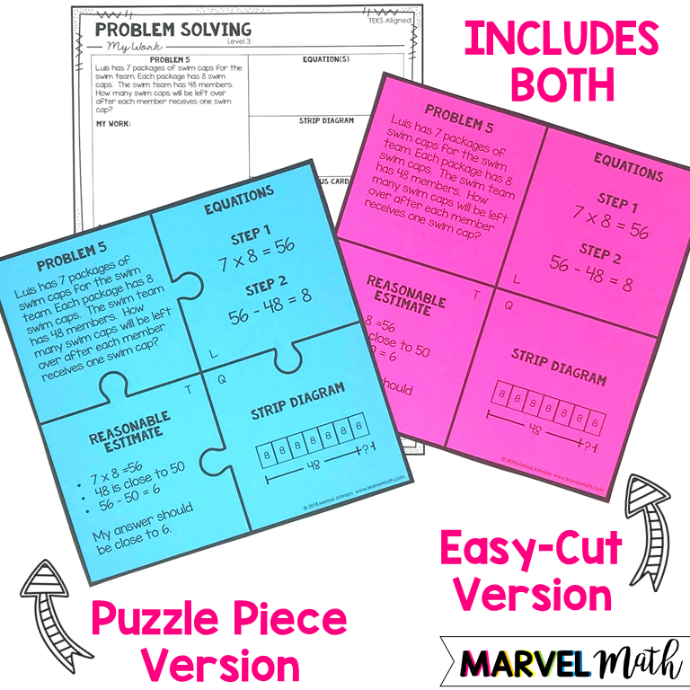 3rd Grade One & Multi-Step Problem Solving Puzzles *Includes TEKS ...