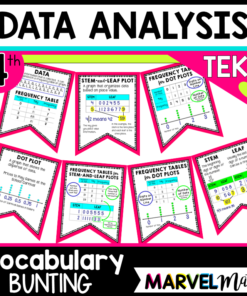Dot Plots, Stem and Leaf Plots, Frequency Table Vocabulary Bunting: Great for Word Walls!