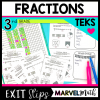 Exit Slips to assess the 3rd Grade Fraction TEKS. Perfect to evaluate student understanding for STAAR.