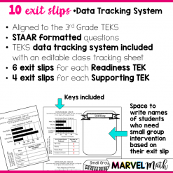 Exit Slips to assess the 3rd Grade Data Analysis TEKS. Exit Slips Cover dot plots, pictographs, and bar graphs.