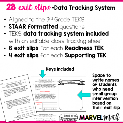 Exit Slips for the 3rd grade TEKS covering Area, Perimeter, Elapsed Time, Capacity and Weight. Great for STAAR Review!