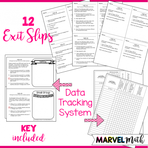 4th Grade TEKS Financial Literacy Exit Slips: Perfect to make sure your students are on track for STAAR! Topics Covered: Fixed vs. Variable Expenses, Purpose of Financial Institutions such as Banks, Borrowing, Lending, Calculating Profit