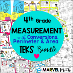 4th Grade TEKS Measurement Unit covering perimeter, area, and measurement conversions