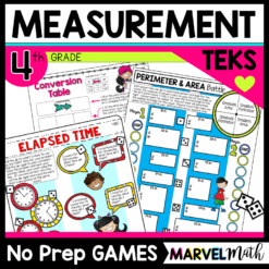 No Prep Math Games Perimeter, Area, Measurement Conversions, Elapsed Time