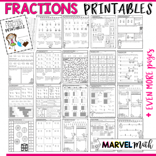 4th Grade Fraction Printables: TEKS