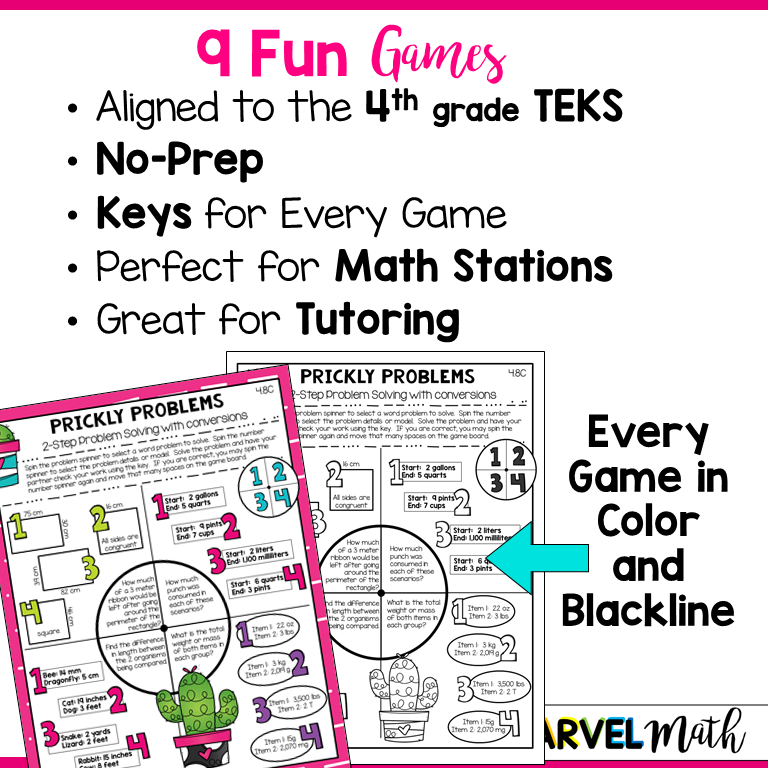 4th Grade Measurement No Prep Games: TEKS - Marvel Math ...
