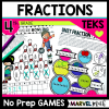 4th Grade No Prep Fraction Games: Perfect for Guided Math Stations, TEKS aligned for STAAR review