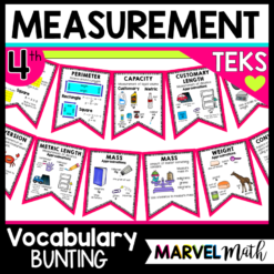 Vocabulary Words Measurement Word Wall 4th Grade Math