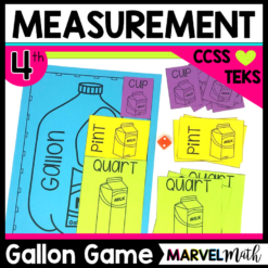 Gallon Game to help students with measurement conversions, TEKS 4.8B, 4.MD.A.1