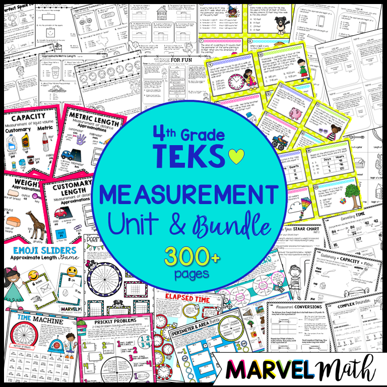 4th Grade Measurement Unit: TEKS - Marvel Math - Fun and engaging ...