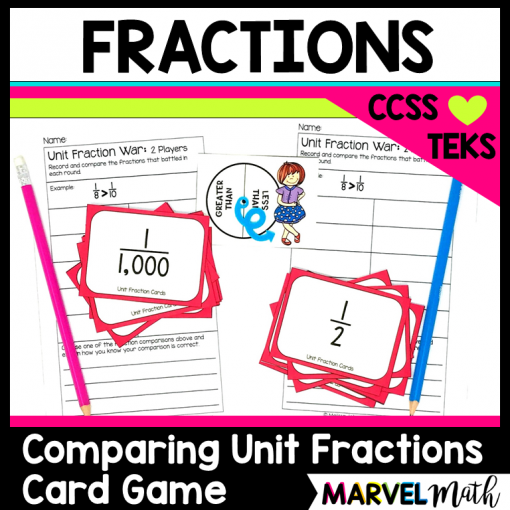 Comparing Fractions Game to Introduce Fractions