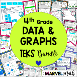 4th Grade Data & Graphs TEKS Unit covering math TEKS 4.9A & 4.9B