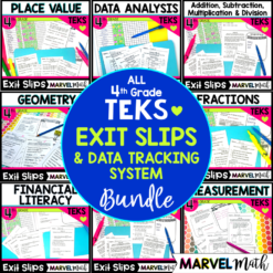 4th Grade Math TEKS Exit Slips - Exit Tickets