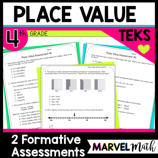 Place Value Formative Assessment 4th Grade TEKS