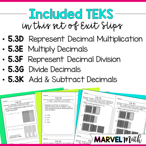 5th Grade Math TEKS Exit Slips/Exit Tickets : Add, subtract, multiply and divide decimals
