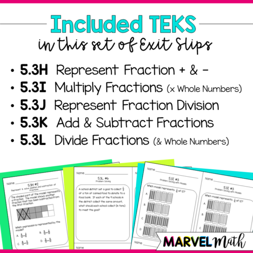 5th Grade Math TEKS Exit Slips/ Exit Tickets