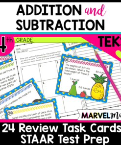 4th Grade STAAR Review Task Cards: TEKS 4.4A, 4.4G, 4.10B