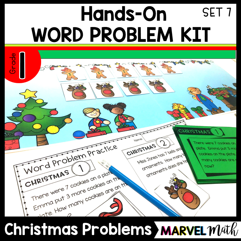 1st Grade Hands-On Word Problem Kit 7: Christmas Problems - Marvel ...