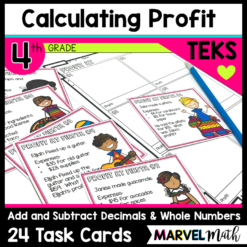 Students will be engaged adding and subtracting decimals while also calculating profit. This is the perfect activity to combine TEKS 4.4A and 4.10A.