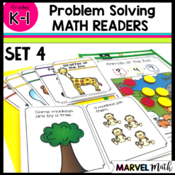 Math readers help kids solve Kindergarten and 1st Grade Word Problems Standards: k.3A, K.3b, k.3C, 1.3B, 1.3E, 1.5D, 1.5F, K.OA.A.1, K.OA.A.2, 1.OA.A.1, 1.OA.D.8