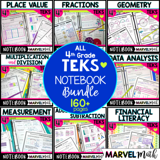 4th Grade Math TEKS Interactive Notebook Bundle