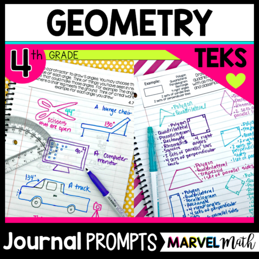 4th Grade Geometry Formative Assessment: Journal Prompts for each of the TEKS