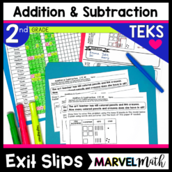 2nd Grade Addition and Subtraction Exit Tickets for the TEKS. These Exit Slips address Addition and Subtraction with regrouping and much more!