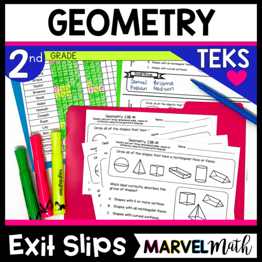 2nd Grade Geometry Exit Tickets for the TEKS