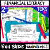 2nd Grade Financial Literacy Exit Tickets for the TEKS