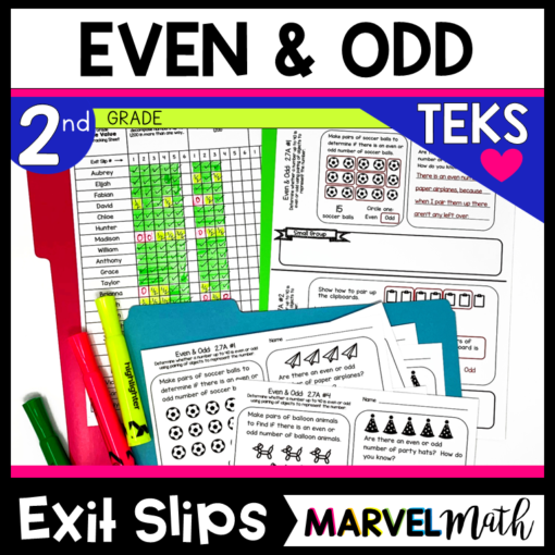 2nd Grade Even and Odd Exit Tickets for the TEKS