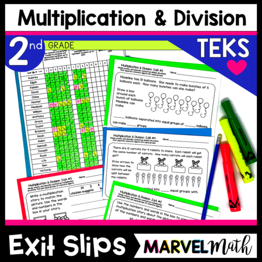 2nd Grade Multiplication and Division Exit Tickets for the TEKS