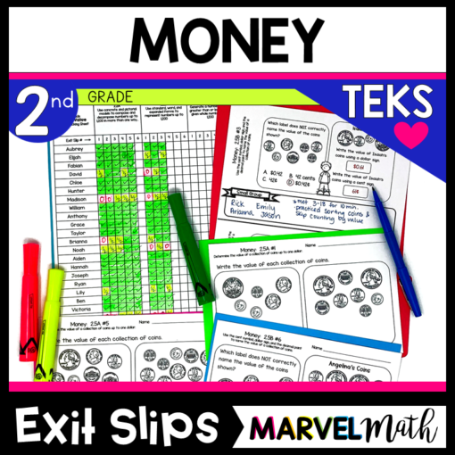 2nd Grade Money Exit Tickets for the TEKS
