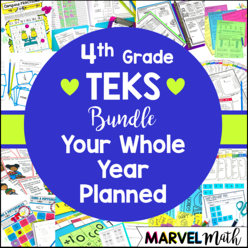 4th Grade Math TEKS Curriculum Bundle by Marvel Math