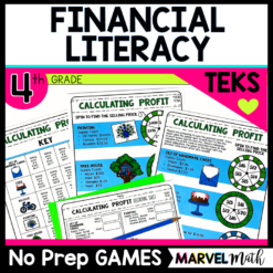 No prep math station games for the 4th grade Financial Literacy TEKS