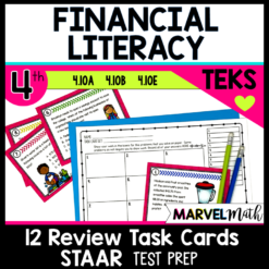 STAAR Review Math Task Cards: 4th grade Personal Financial Literacy TEKS 4.10A, 4.10B, 4.10E
