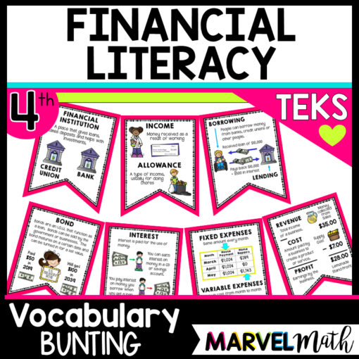 Financial Literacy TEKS Word Wall Vocabulary Bunting