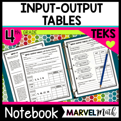 Input Output Tables Notebook for the 4th Grade Math TEKS 4.5B