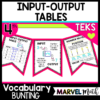 Input Output Tables Vocabulary Bunting for Math Word Wall covering the 4th grade math TEKS