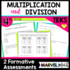 Two easy-to-use Multiplication and Division Tests for the 4th Grade Math TEKS. These are perfect to use as formative assessments to collect data on student mastery.