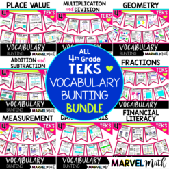 4th Grade Illustrated Math Word Wall Vocabulary Bunting for the 4th Grade Math TEKS