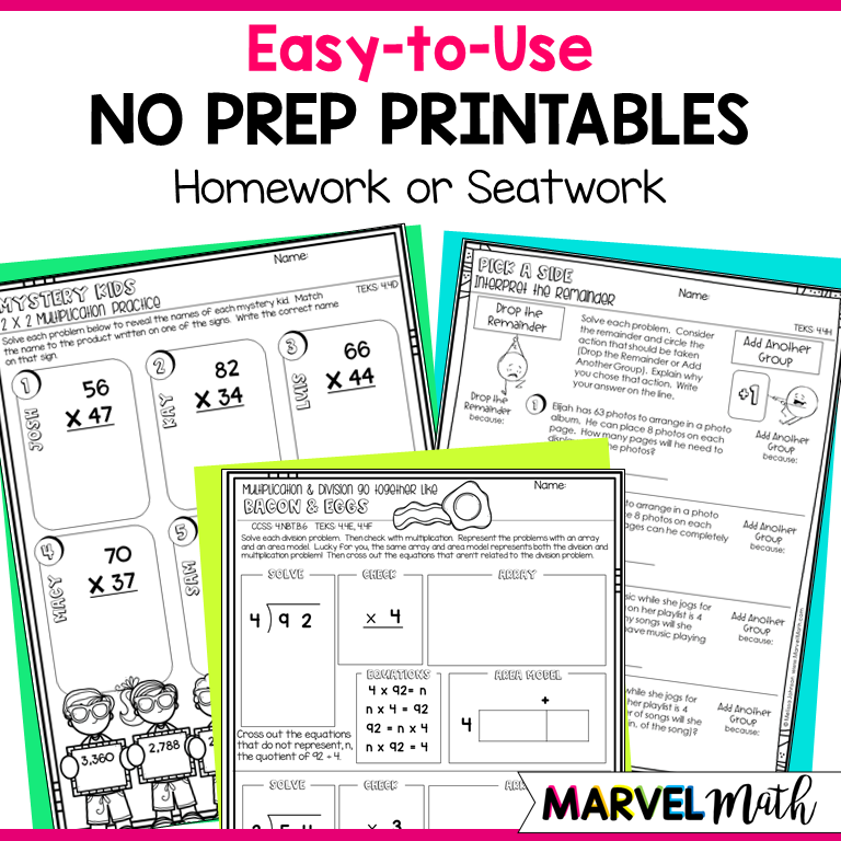4th Grade TEKS Multiplication & Division Printables ...