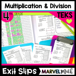 Multiplication and Division Exit Tickets or Exit Slips for the 4th