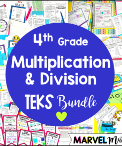 This 4th Grade Multiplication and Division TEKS Unit and Bundle includes lesson plans, worksheets, no prep games, task cards, exit tickets and tests!