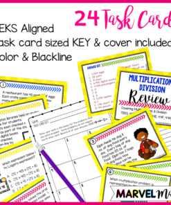 4th Grade STAAR Review Task Cards for Multiplication and Division