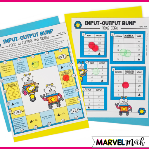 Free Math Station Game for Input Output tables to cover TEKS 4.5B