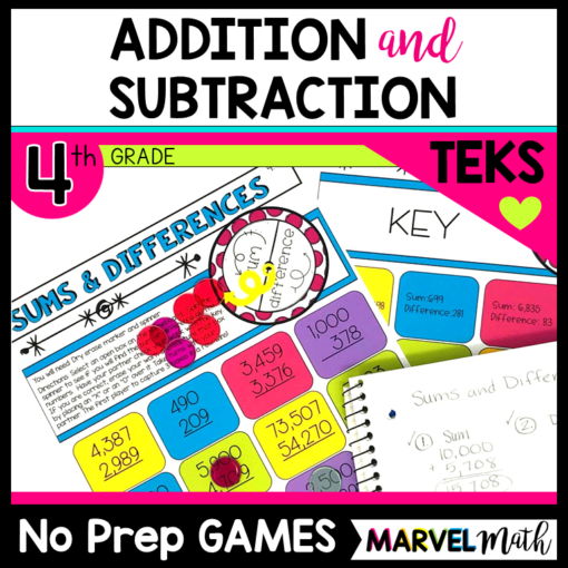 Math Station Games for 4th Grade Addition and Subtraction