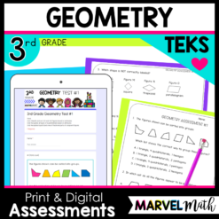 3rd Grade Geometry TEKS Tests and STAAR Review with New Question Types