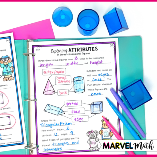 3rd Grade Geometry Math Notebook Pages to Learn about Cones, Cylinders, and Prisms
