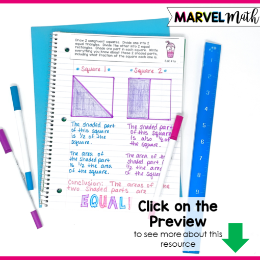 3rd Grade Geometry Journal Prompts for an easy No Prep Math Station